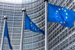 Bandeiras do Eu em Bruxelas Bélgica fotografia de stock