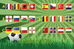 Bandeiras do Euro 2016 no fundo da grama e na bola de futebol 24 nações Imagem de Stock Royalty Free