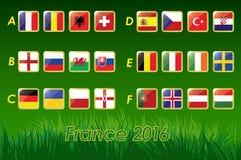 Bandeiras do Euro 2016 no fundo da grama e na bola de futebol 24 nações Fotografia de Stock Royalty Free
