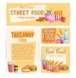Bandeiras do fast food ilustração royalty free