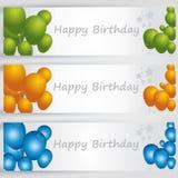 Bandeiras do feliz aniversario com balões coloridos Vetor Imagens de Stock Royalty Free