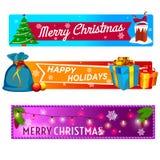 Bandeiras do Feliz Natal ajustadas Fotografia de Stock Royalty Free
