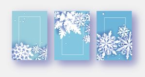 3 bandeiras do Feliz Natal e do ano novo feliz Flocos de neve do corte do Livro Branco Fundo da decoração do origâmi seasonal ilustração royalty free