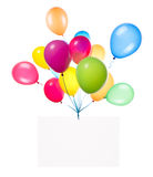 Bandeiras do feriado com balões coloridos Imagens de Stock Royalty Free