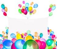 Bandeiras do feriado com balões coloridos Fotografia de Stock Royalty Free