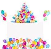 Bandeiras do feriado com balões coloridos Imagem de Stock Royalty Free