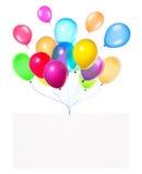 Bandeiras do feriado com balões coloridos Fotografia de Stock