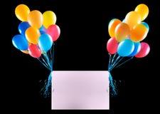 Bandeiras do feriado com balões coloridos Fotos de Stock
