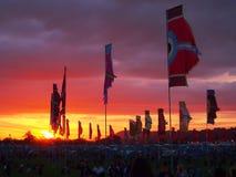 Bandeiras do festival no por do sol Imagem de Stock Royalty Free