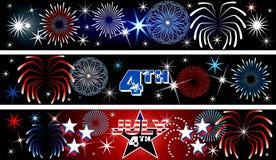 Bandeiras do fogo-de-artifício julho de ô ilustração stock