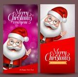 Bandeiras do fundo e do vetor do Natal com Papai Noel ilustração do vetor