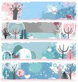 Bandeiras do grunge do inverno Imagens de Stock Royalty Free
