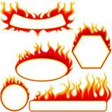 Bandeiras do incêndio ajustadas ilustração do vetor