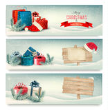 Bandeiras do inverno do Natal com presentes. Fotografia de Stock Royalty Free