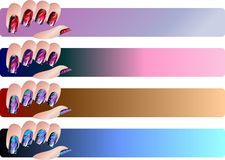 Bandeiras do Manicure ajustadas Fotografia de Stock