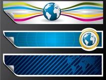 Bandeiras do mapa e do globo de mundo Fotos de Stock