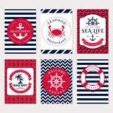 Bandeiras do mar Moldes do cartão do vetor Imagem de Stock