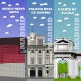 Bandeiras do marco do turista do Madri Ilustração do vetor com construções famosas da Espanha Fotos de Stock Royalty Free