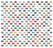 Bandeiras do mundo com sombras da gota Imagens de Stock Royalty Free