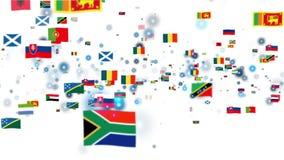 Bandeiras do mundo, mosca da câmera completamente ilustração royalty free