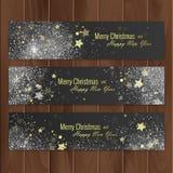 Bandeiras do Natal ajustadas na carcaça de madeira Vetor EPS 10 Fotos de Stock Royalty Free