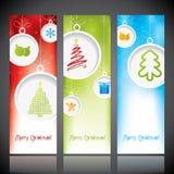 Bandeiras do Natal com decorações ilustração do vetor