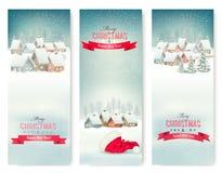 Bandeiras do Natal do feriado com vilas Fotografia de Stock Royalty Free