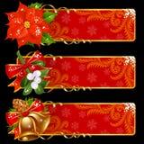 Bandeiras do Natal e do ano novo Fotos de Stock Royalty Free