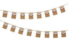 Bandeiras do partido da estamenha feitas do papel de embalagem e do laço Imagem de Stock Royalty Free
