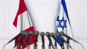 Bandeiras do Peru e da Israel na reunião ou na conferência internacional rendição 3d imagem de stock