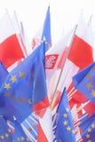 Bandeiras do Polônia e da União Europeia Fotos de Stock