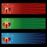Bandeiras do presente de Cristmas Imagens de Stock Royalty Free