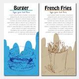 Bandeiras do projeto do fast food com batatas fritas e Imagens de Stock
