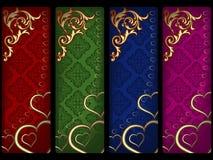 Bandeiras do Valentim ajustadas Fotografia de Stock