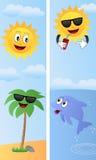 Bandeiras do verão dos desenhos animados [2] ilustração stock