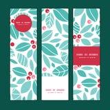 Bandeiras do vertical das bagas do azevinho do Natal do vetor Imagem de Stock Royalty Free