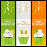 Bandeiras do vertical do queque do dia de Patrick s Imagem de Stock