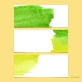 Bandeiras do vetor com amarelo e verde da aquarela Fotografia de Stock