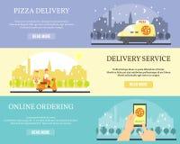 Bandeiras do vetor da entrega do alimento Pizza da ordem em linha no Internet usando o smartphone Entrega da pizza pelo carro e p ilustração royalty free