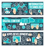 Bandeiras do vetor de dados da tecnologia da informação ilustração do vetor
