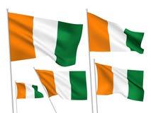 Bandeiras do vetor de Ivoire do ` da costa d Ilustração Stock