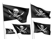 Bandeiras do vetor de Jolly Roger dos piratas Ilustração Stock