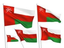 Bandeiras do vetor de Omã Ilustração Stock
