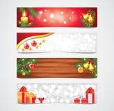 Bandeiras do vetor dos feriados do Natal ajustadas ilustração royalty free