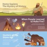 Bandeiras do vetor Homem primitivo Idade da Pedra ilustração do vetor
