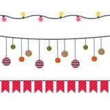 Bandeiras do vetor do Natal, festões e grupo sem emenda da decoração Para o aniversário, partido ilustração royalty free