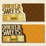 Bandeiras do vetor para doces orientais Imagens de Stock