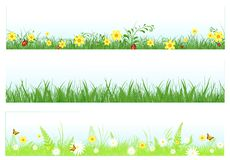 Bandeiras do Web da grama ilustração do vetor