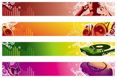 Bandeiras do Web da música Foto de Stock Royalty Free