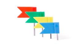 Bandeiras dos artigos de papelaria em cores diferentes Fotografia de Stock Royalty Free